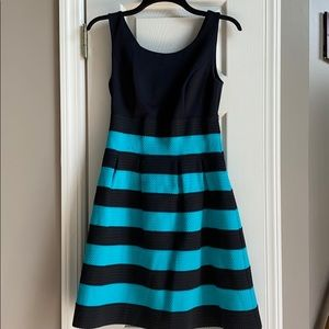 XS New York and Company Stretch Black & Teal Dress